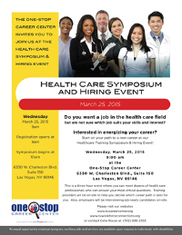One-Stop Career Center to hold Inaugural Health Care Symposium & Hiring Event Wednesday, March 25