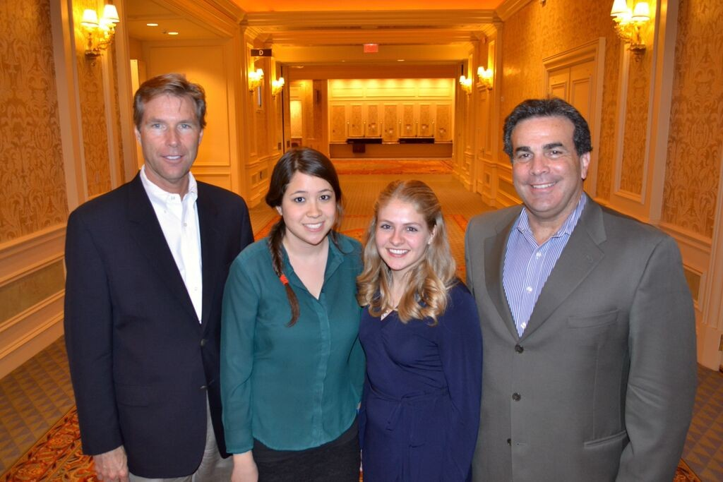 (L to R) Bank of Nevada Regional Executive Vice President Michael Cunningham, 2015 Forward Together Scholarship winner, Abigail Ly, 2014 Forward Together Scholarship winner, Katarina Faulkner, Bank of Nevada Chief Executive Officer, John Guedry.