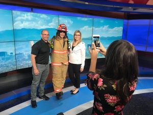 Las Vegas City Firefighters Support Scale the Strat on News 3!
